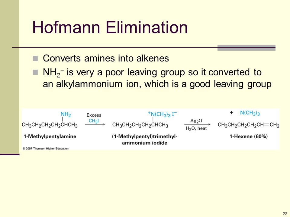 Hofmann Elimination Converts amines into alkenes