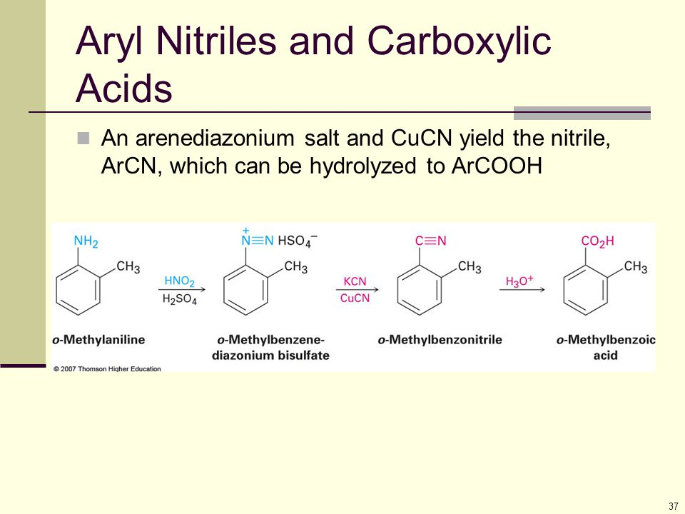 Aryl Nitriles and Carboxylic Acids
