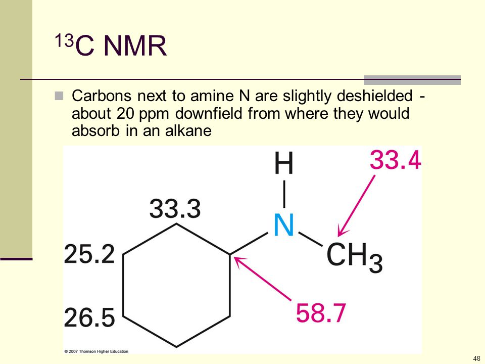 13C NMR Carbons next to amine N are slightly deshielded - about 20 ppm downfield from where they would absorb in an alkane.