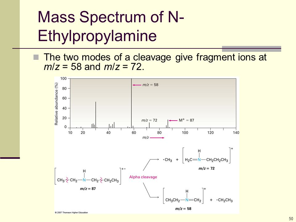 Mass Spectrum of N-Ethylpropylamine