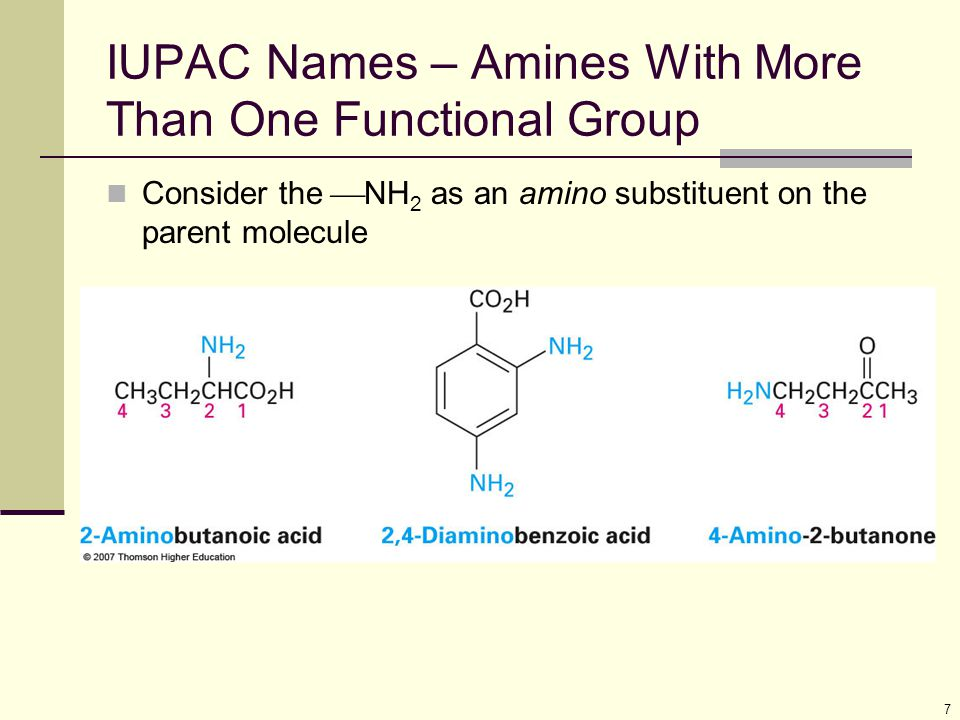 IUPAC Names – Amines With More Than One Functional Group