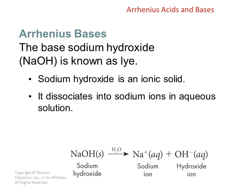 The base sodium hydroxide (NaOH) is known as lye.