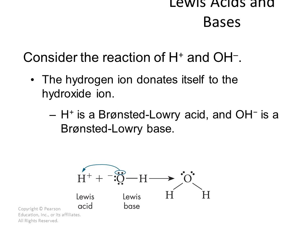 Lewis Acids and Bases Consider the reaction of H+ and OH–.