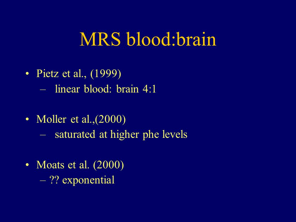 MRS blood:brain Pietz et al., (1999) linear blood: brain 4:1
