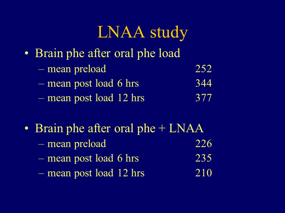 LNAA study Brain phe after oral phe load