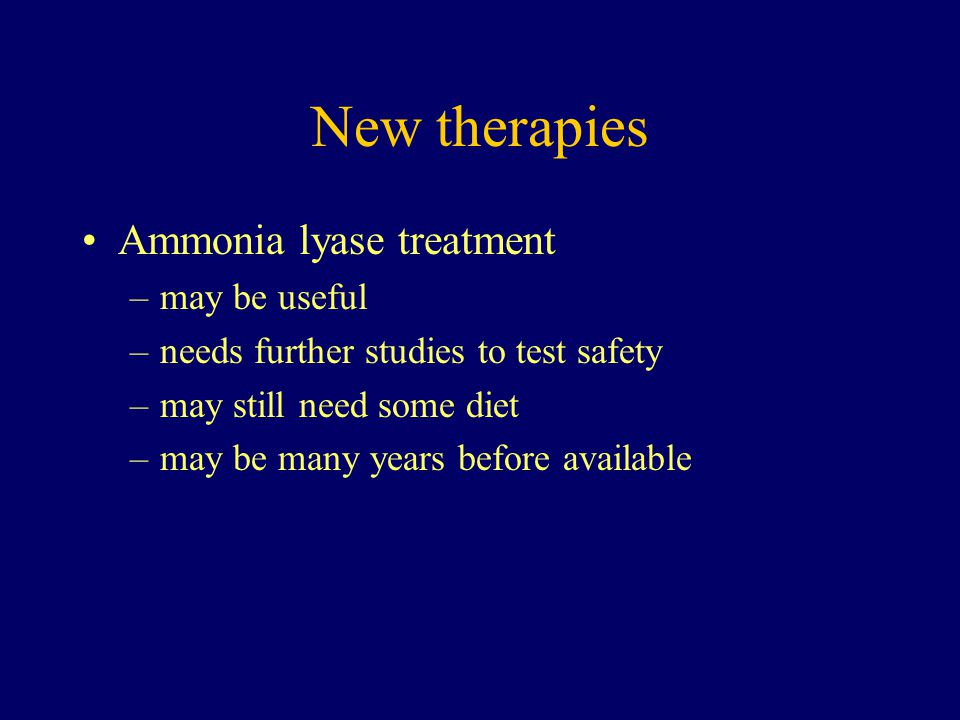 New therapies Ammonia lyase treatment may be useful