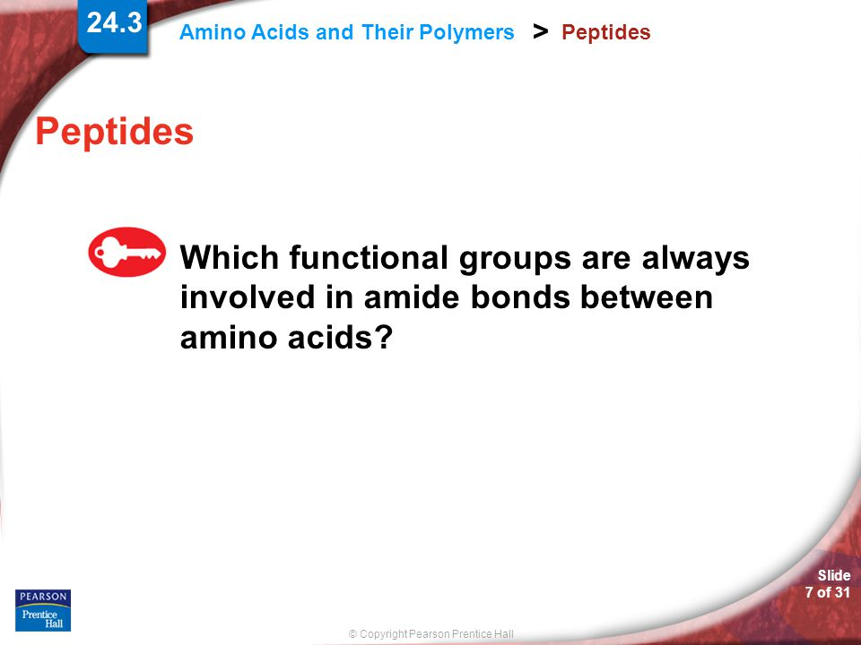 Peptides Peptides Which functional groups are always involved in amide bonds between amino acids