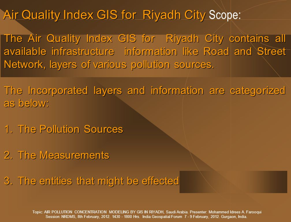 Air Quality Index GIS for Riyadh City Scope: