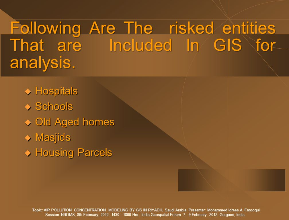 Following Are The risked entities That are Included In GIS for analysis.