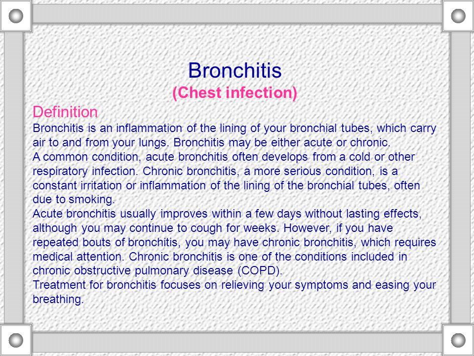 a clinical description of the causes and treatment of bronchitis When the left ventrical fails, filling pressure on the left side of the heart increase and cause a conmitant increase in pulm cap hp there is no specific treatment for silicosis, although corticosteroids may produce some improvement.