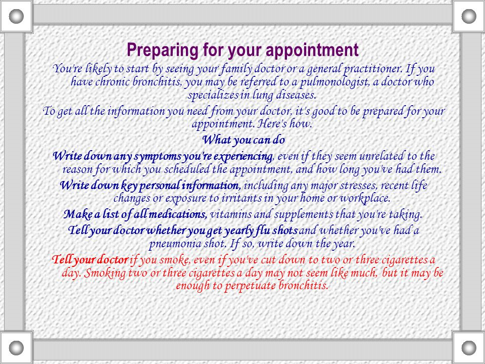 Preparing for your appointment