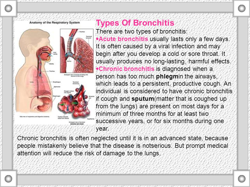 Types Of Bronchitis There are two types of bronchitis:
