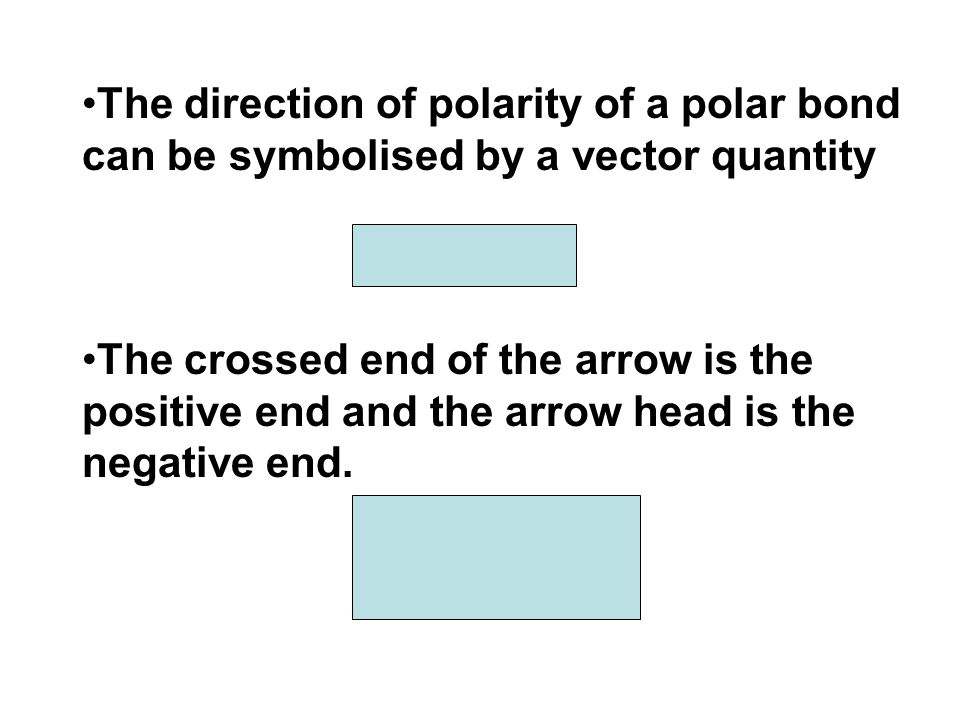 The direction of polarity of a polar bond can be symbolised by a vector quantity