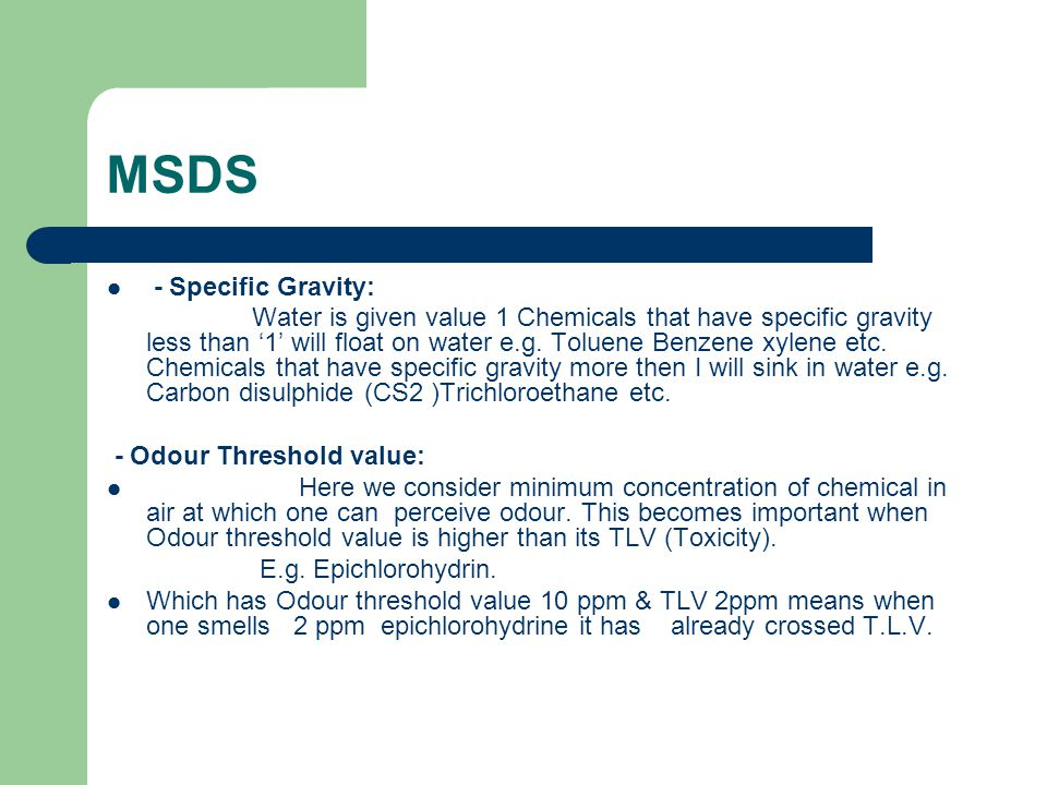 MSDS - Specific Gravity: