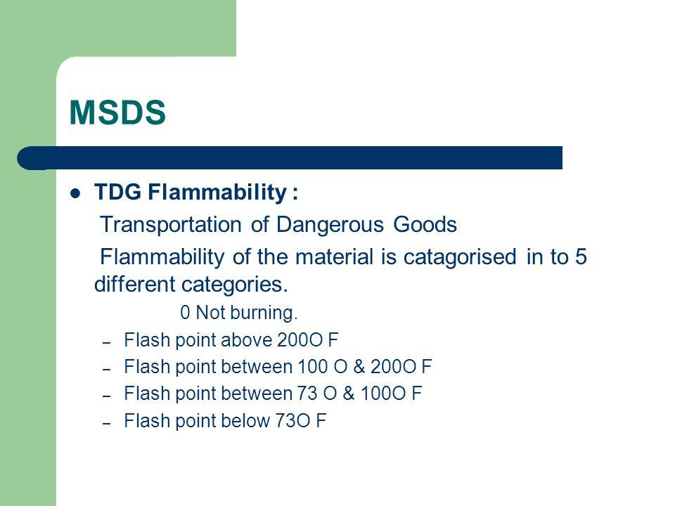 MSDS TDG Flammability : Transportation of Dangerous Goods