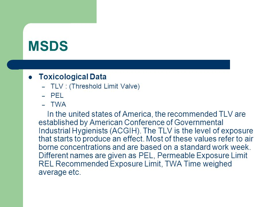 MSDS Toxicological Data