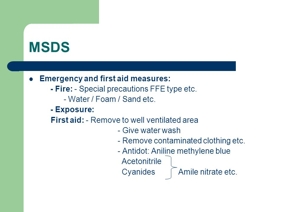 MSDS Emergency and first aid measures: