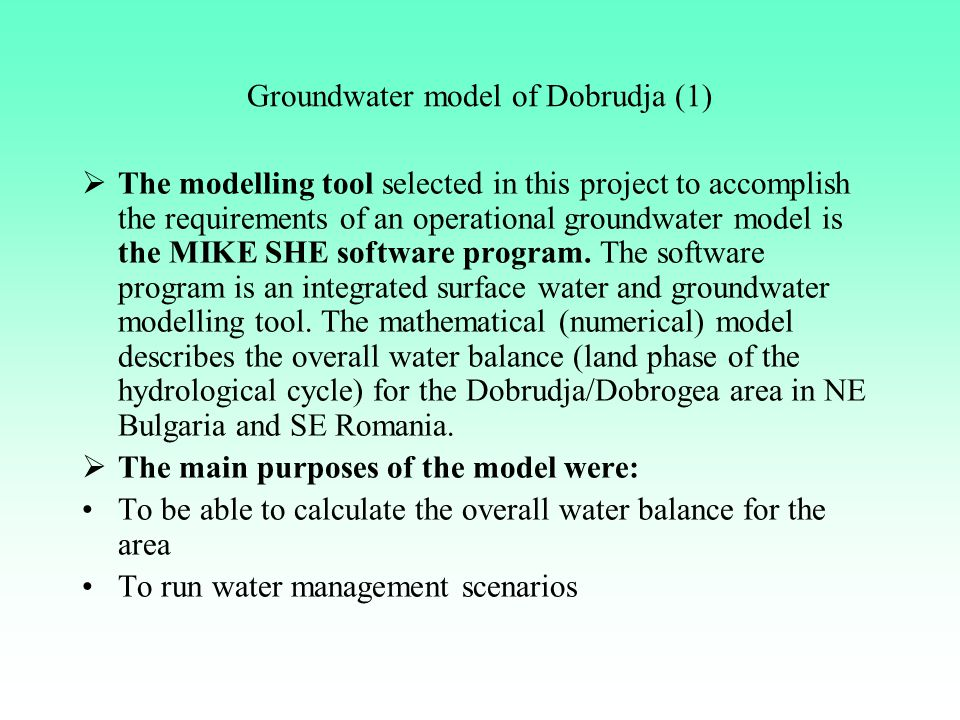 Groundwater model of Dobrudja (1)
