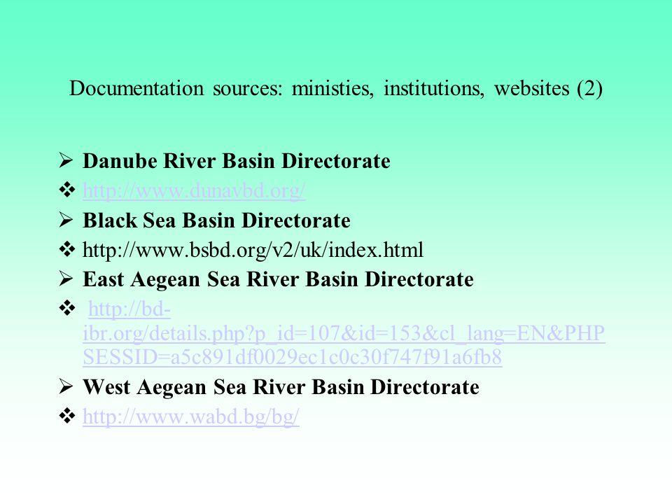 Documentation sources: ministies, institutions, websites (2)