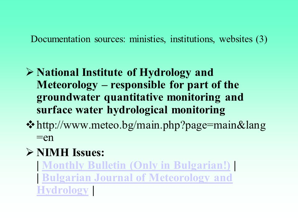 Documentation sources: ministies, institutions, websites (3)