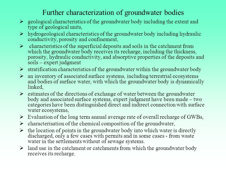 Further characterization of groundwater bodies