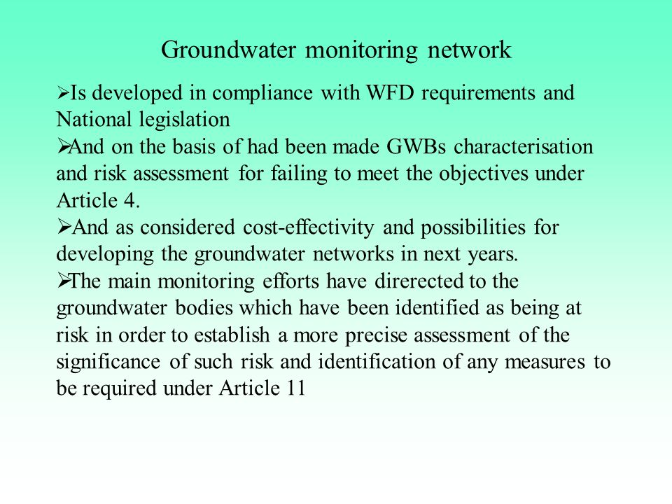 Groundwater monitoring network