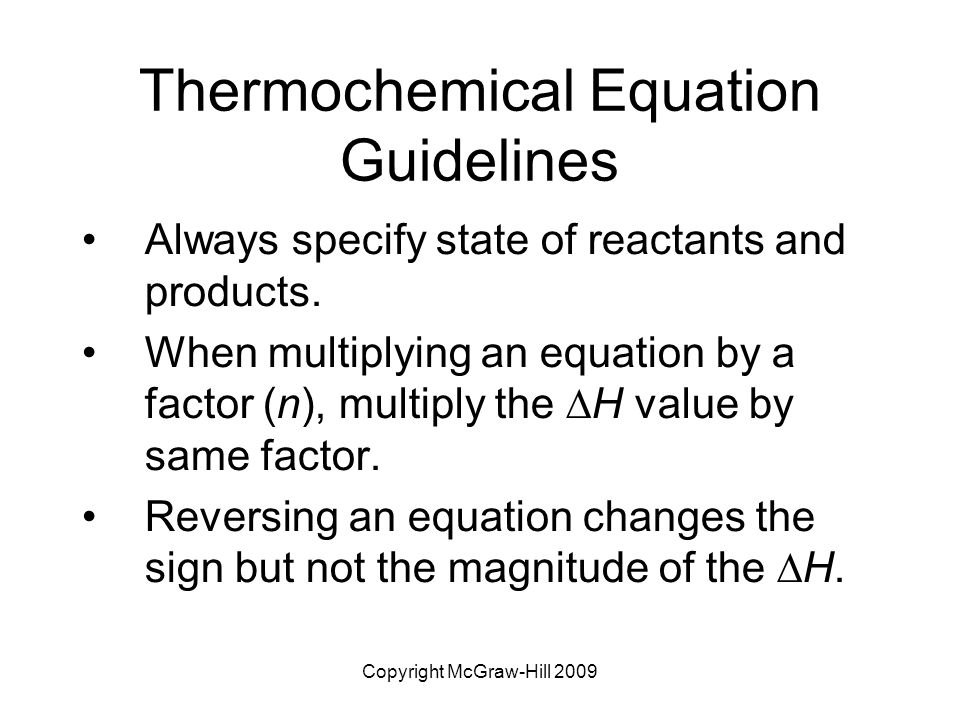 Thermochemical Equation Guidelines