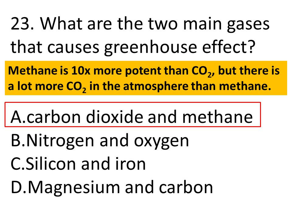 23. What are the two main gases that causes greenhouse effect