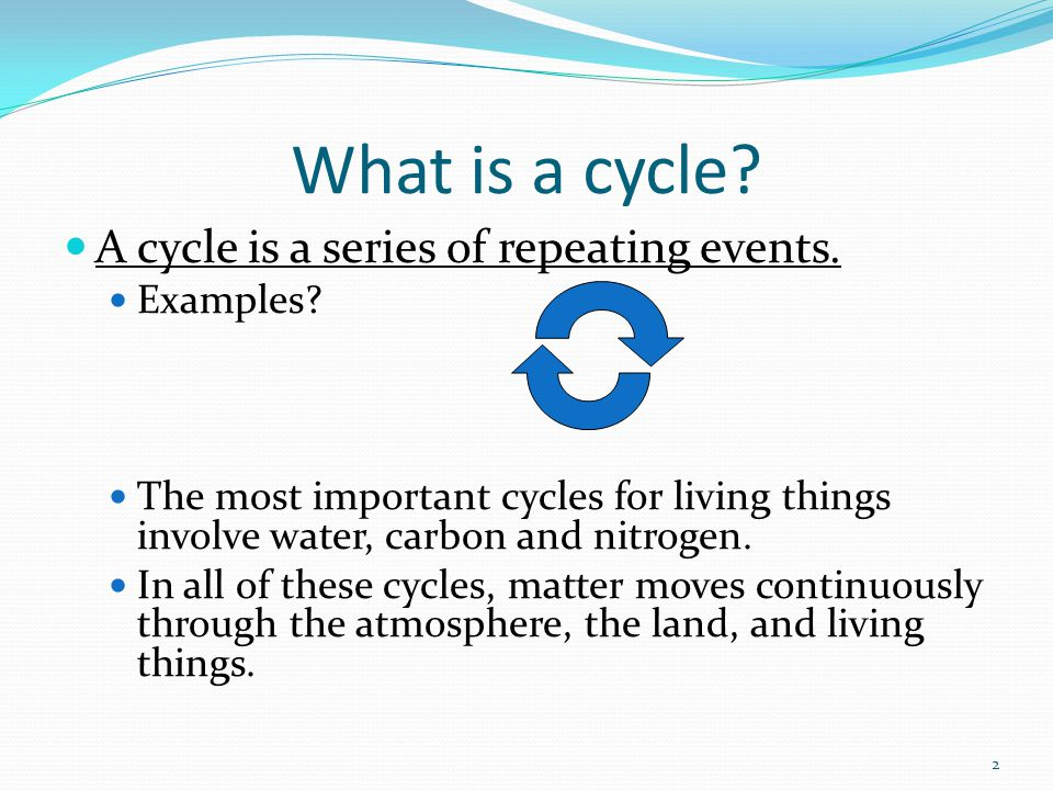 What is a cycle A cycle is a series of repeating events. Examples