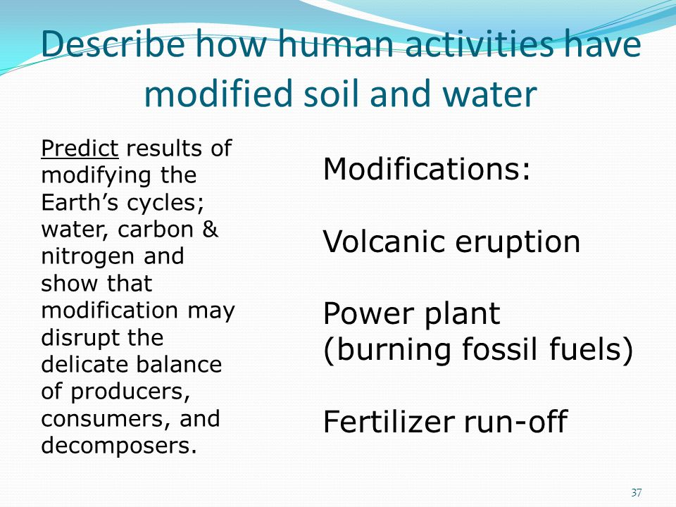 Describe how human activities have modified soil and water