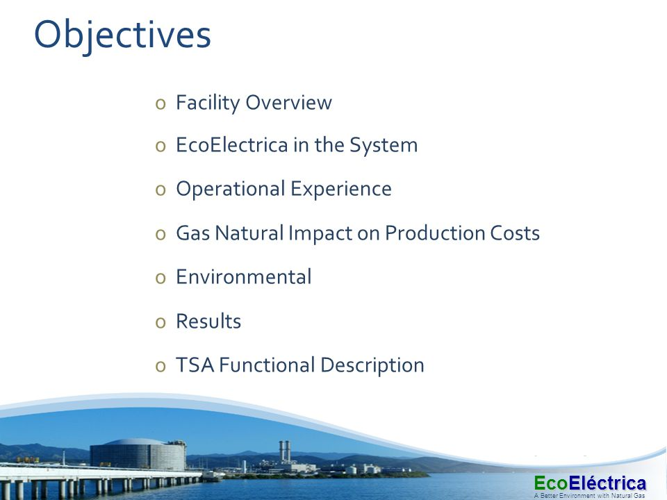 Objectives Facility Overview EcoElectrica in the System