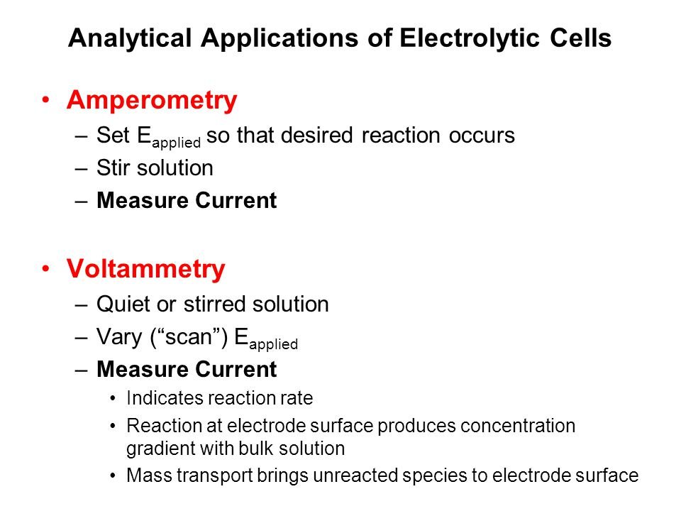 Analytical Applications of Electrolytic Cells