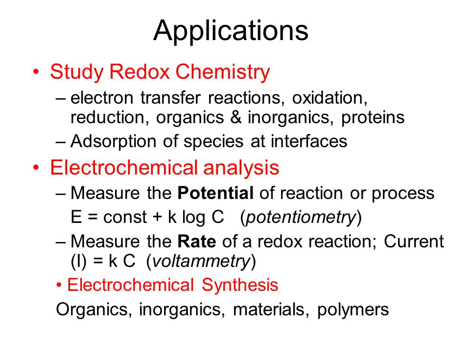 Applications Study Redox Chemistry Electrochemical analysis