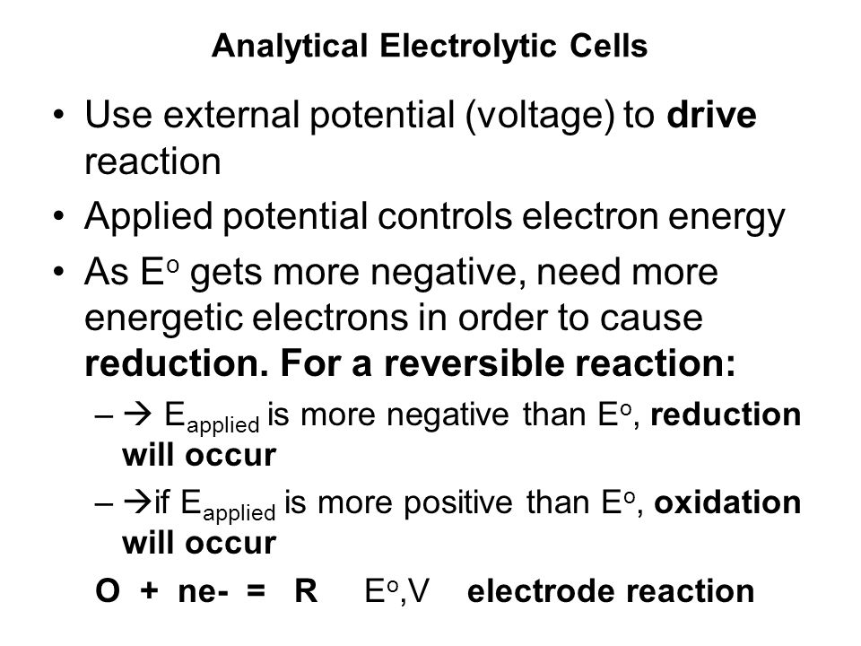 Analytical Electrolytic Cells