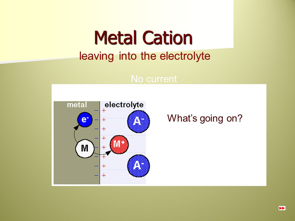 Metal Cation leaving into the electrolyte No current What's going on