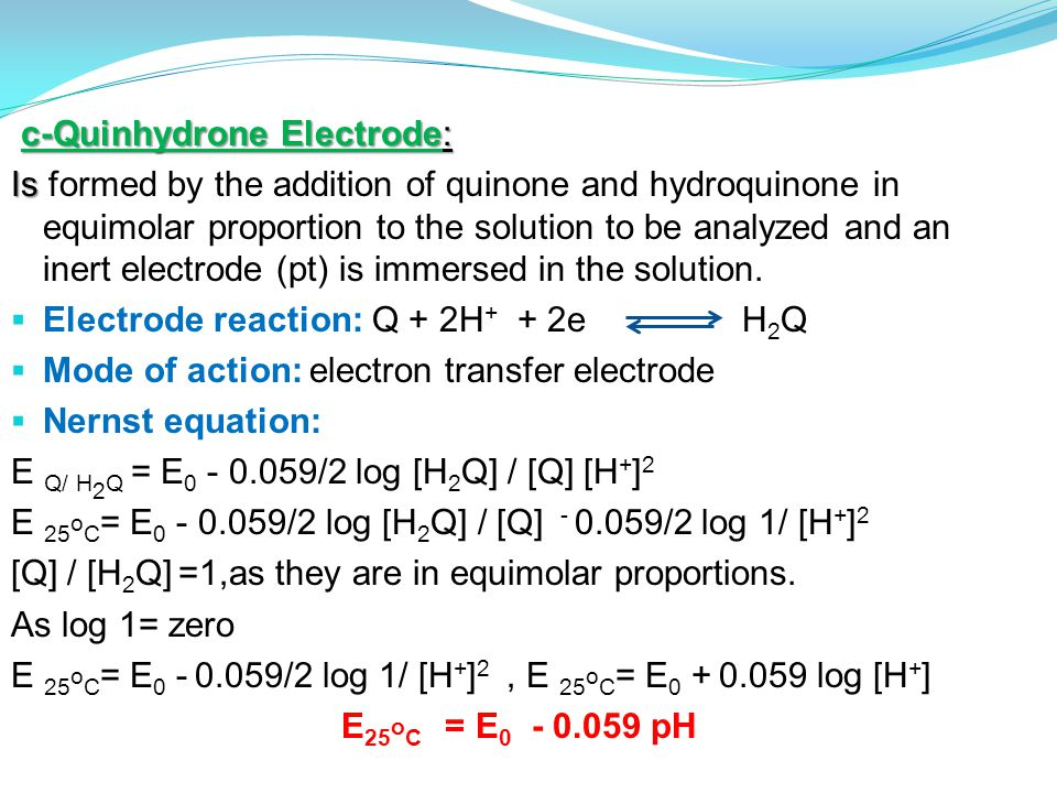 c-Quinhydrone Electrode: