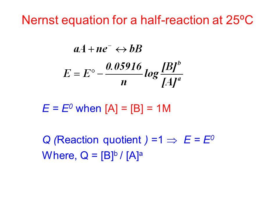 Nernst equation for a half-reaction at 25ºC