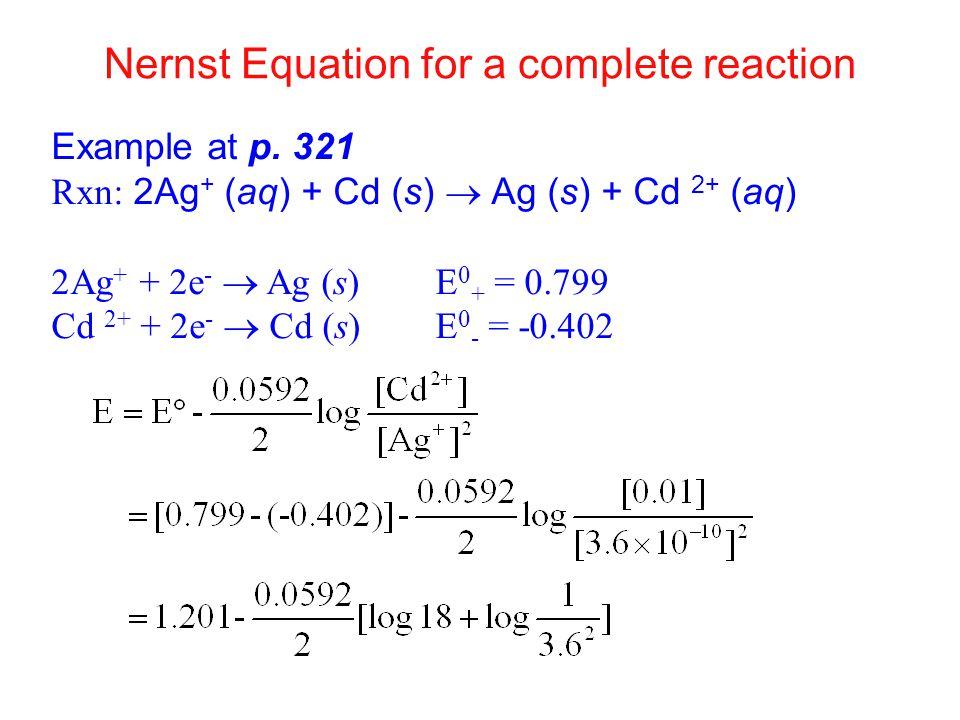 Nernst Equation for a complete reaction