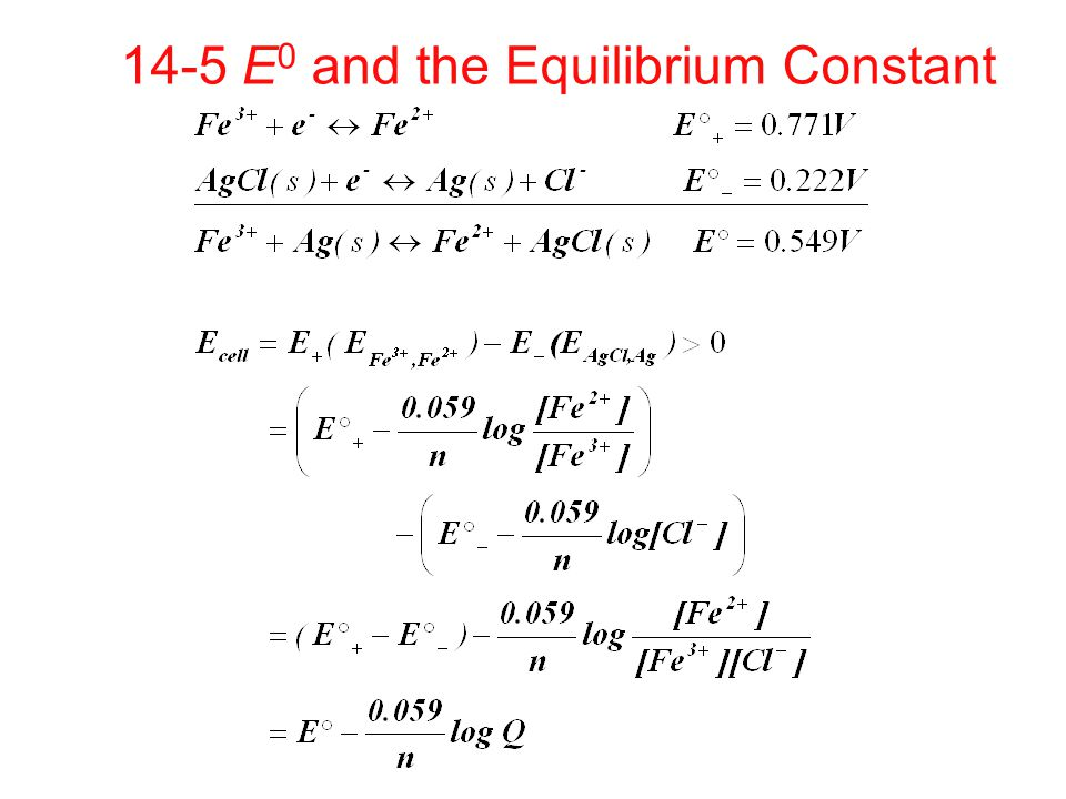 14-5 E0 and the Equilibrium Constant