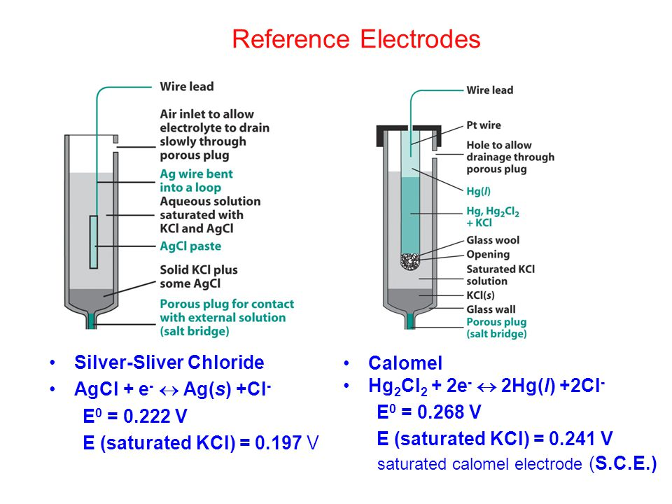 Reference Electrodes saturated calomel electrode (S.C.E.)