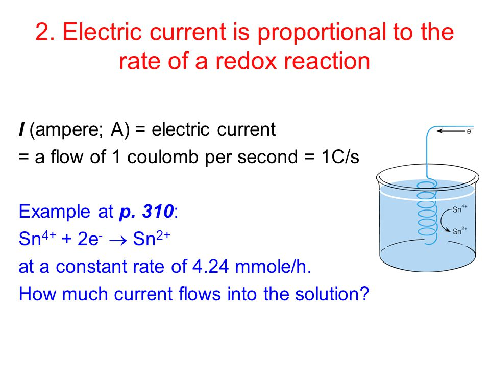 2. Electric current is proportional to the rate of a redox reaction