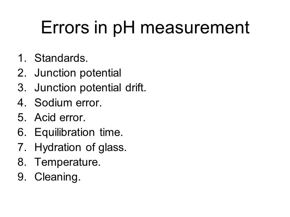 Errors in pH measurement