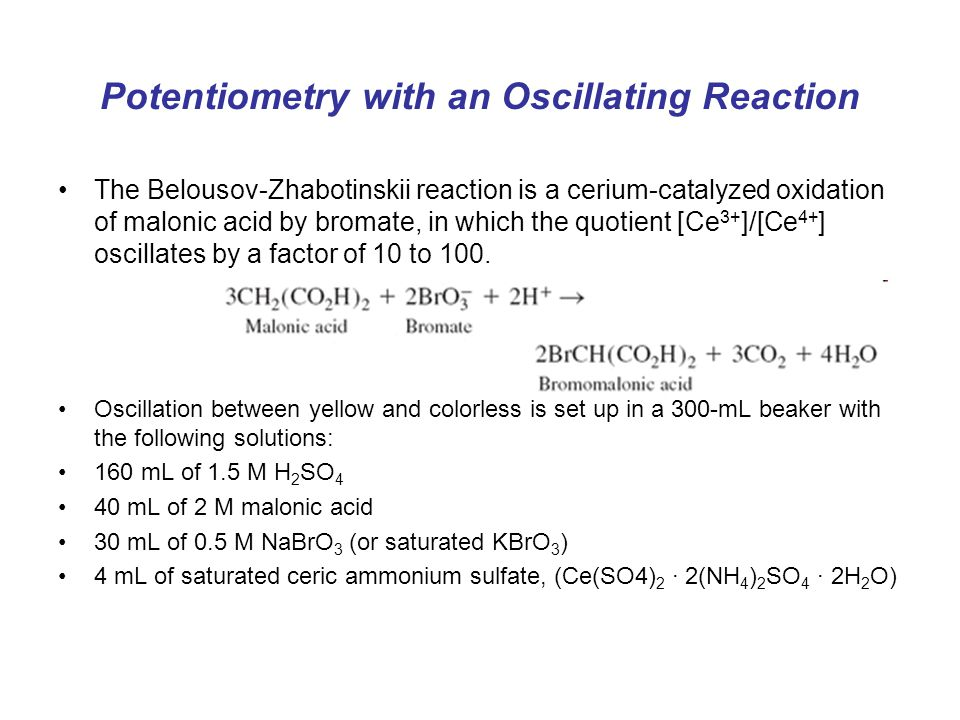 Potentiometry with an Oscillating Reaction