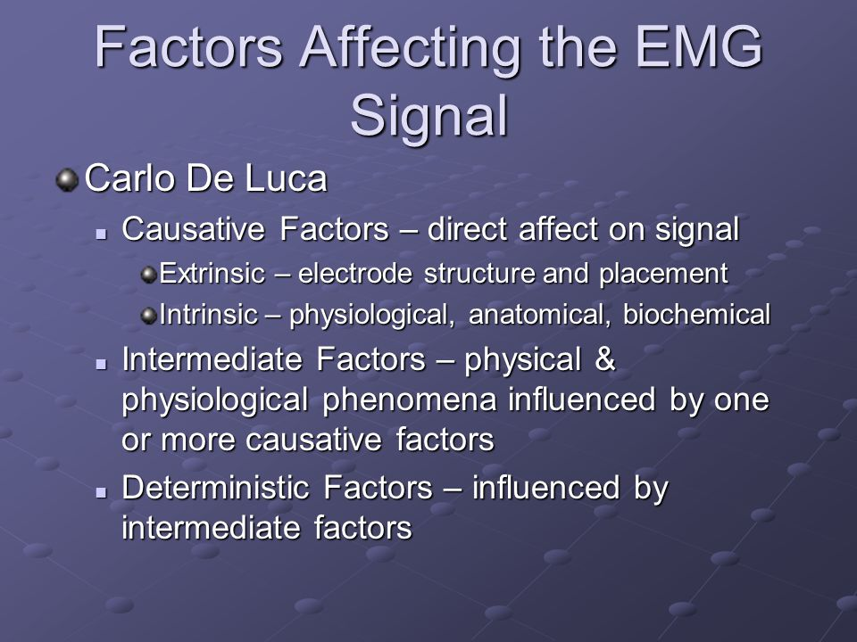 Factors Affecting the EMG Signal