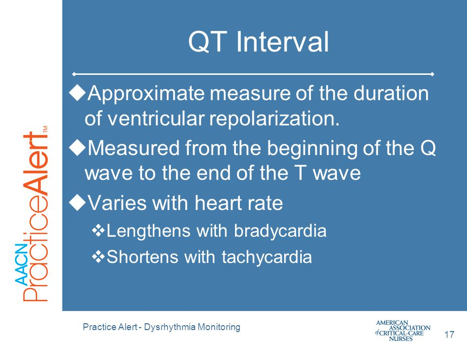 QT Interval Approximate measure of the duration of ventricular repolarization. Measured from the beginning of the Q wave to the end of the T wave.