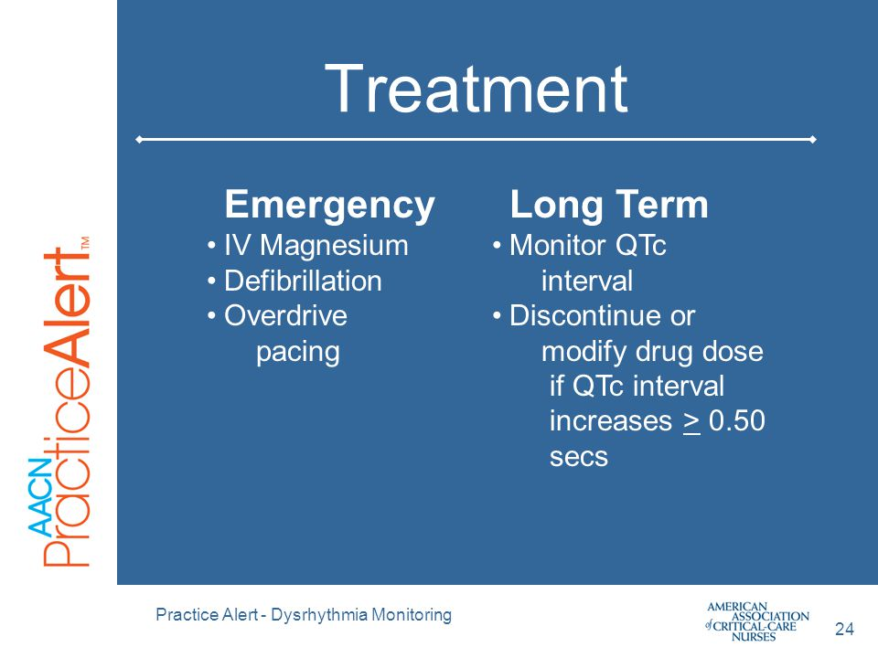 Treatment Emergency Long Term IV Magnesium Defibrillation Overdrive