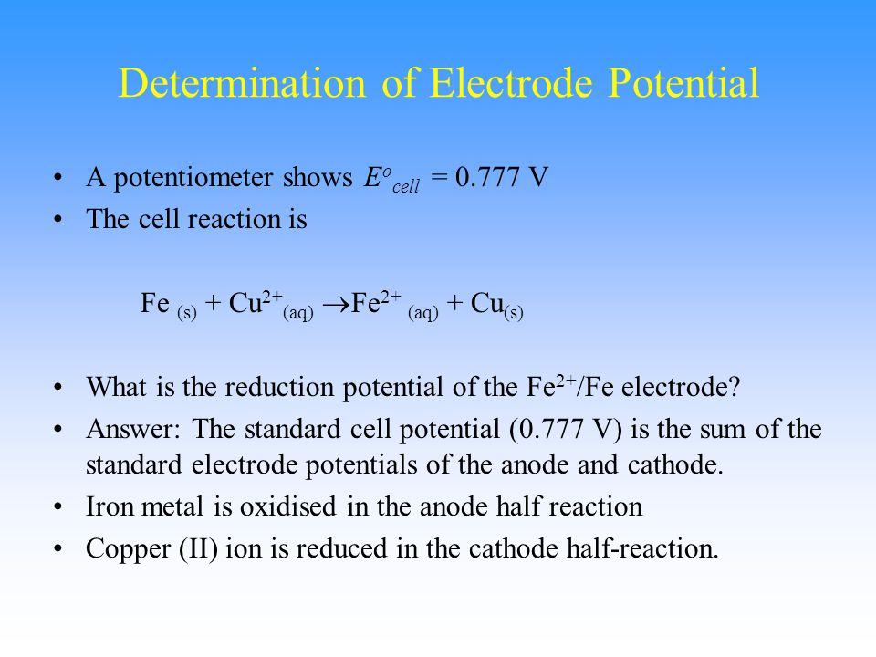 Determination of Electrode Potential