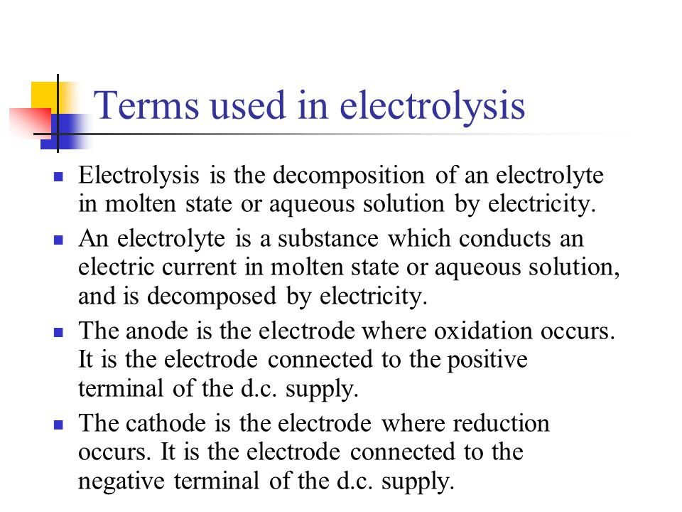 Terms used in electrolysis