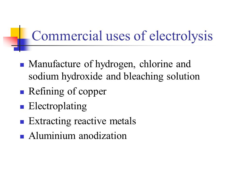 Commercial uses of electrolysis
