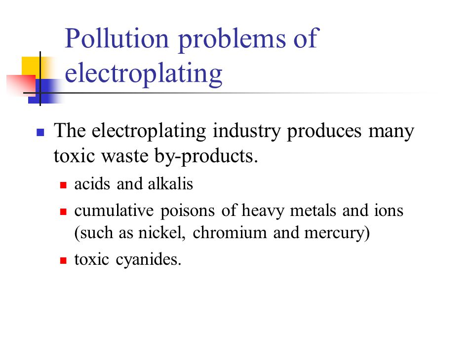 Pollution problems of electroplating